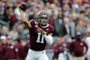 Texas A&M quarterback Kellen Mond (11) looks to pass against Mississippi State during the first quarter of an NCAA college football game, Saturday, Oct. 26, 2019, in College Station, Texas. (AP Photo/Sam Craft)