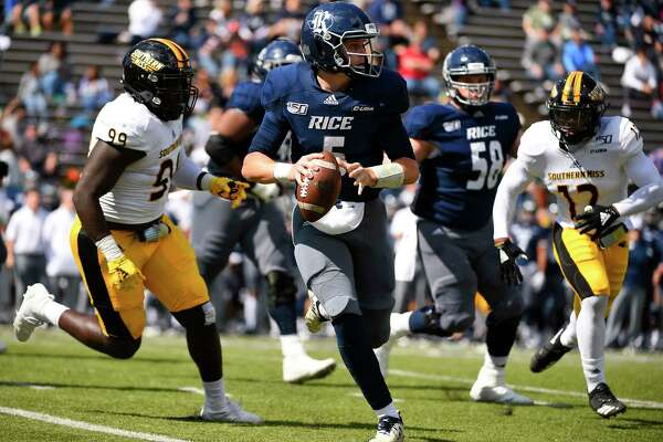 Rice quarterback Wiley Green (5) scrambles during the first half of an NCAA college football game against Southern Miss, Saturday, Oct. 26, 2019, in Houston.