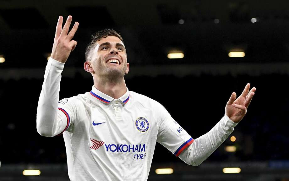 American phenom Christian Pulisic celebrates scoring his third goal during Chelsea's English Premier League victory over Burnley. Photo: Anthony Devlin / Associated Press