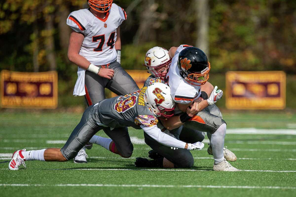 Football action between St. Joseph and Ridgefield High School, Saturday, October 26, 2019 at St. Joseph High School