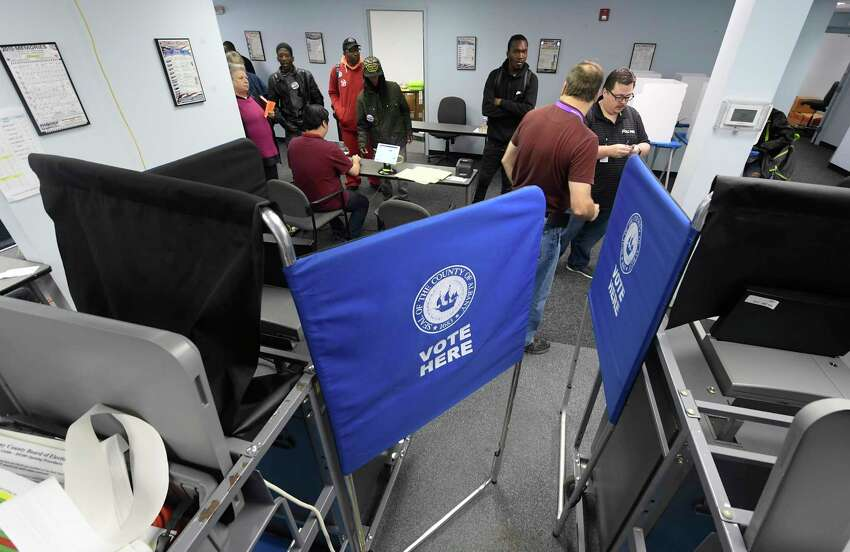 Registered New York voters take advantage of a new early voting election law to cast their vote before the Tuesday November 5th. general election at the Albany County Board of Elections Saturday, Oct. 26, 2019, in Albany, N.Y. (Hans Pennink / Special to the Times Union)