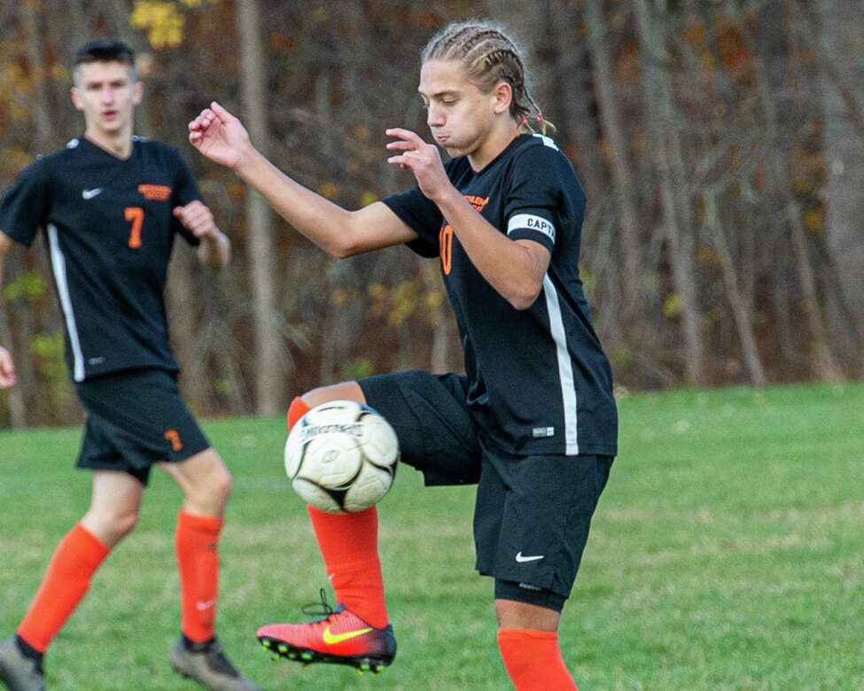 Bethlehem striker Salko Kanic plays the ball at midfield during a Section II Class AA quarterfinal game against Niskayuna at Bethlehem High School on Saturday, Oct. 26, 2019 (Jim Franco/Special to the Times Union.)