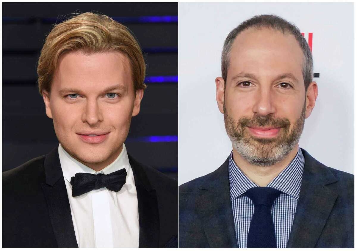 """This combination photo shows Pulitzer Prize-winning writer Ronan Farrow at the Vanity Fair Oscar Party in Beverly Hills, Calif. on Feb. 24, 2019, left, and NBC News President Noah Oppenheim at the 2016 AFI Festival """"Jackie"""" Centerpiece Gala in Los Angeles on Nov. 14, 2016. Farrow's account of his contentious divorce from NBC News, the more evidence he gathered on Hollywood mogul Harvey Weinstein's sexual misconduct, the less enthusiastic his bosses seemed to be. NBC's decision to let Farrow take his work to the New Yorker magazine is widely regarded as one of the biggest mistakes in journalism the past few years. His former employers call Farrow's book, """"Catch and Kill,"""" a smear. It's being published Tuesday. (AP Photo)"""