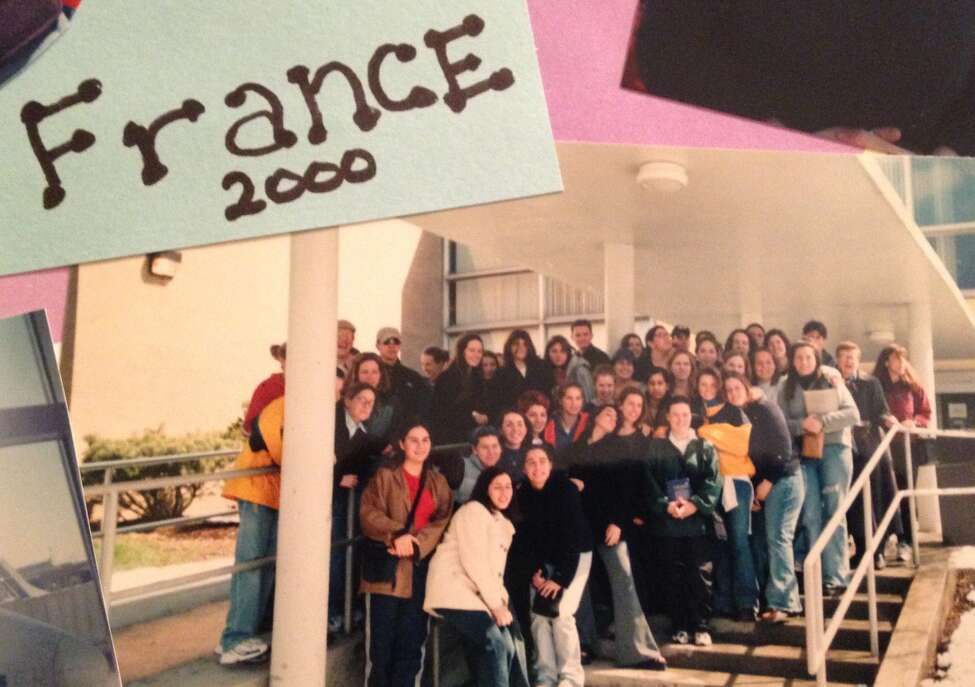 """3. In high school, I was on the TV show """"Regents Review Live"""" for French. I'm fairly certain my parents were the only two people to watch the episode. That same year, I also got to go on a school trip to France. I'm somewhere in this group picture taken at Shaker just before we boarded the bus to the airport."""