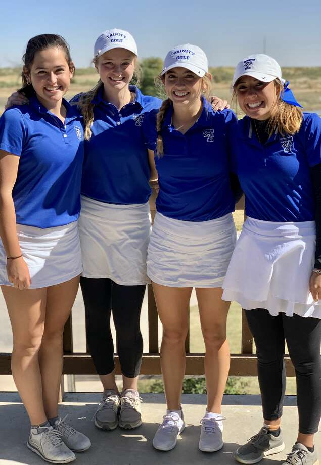 The Trinity girls golf team, from left, Alexandra Escamilla, Brooke Widner, Aspen Escamilla and Jules Crow, pose after winning the Odessa Invitational at Ratliff Ranch Golf Links. Photo: Courtesy Photo