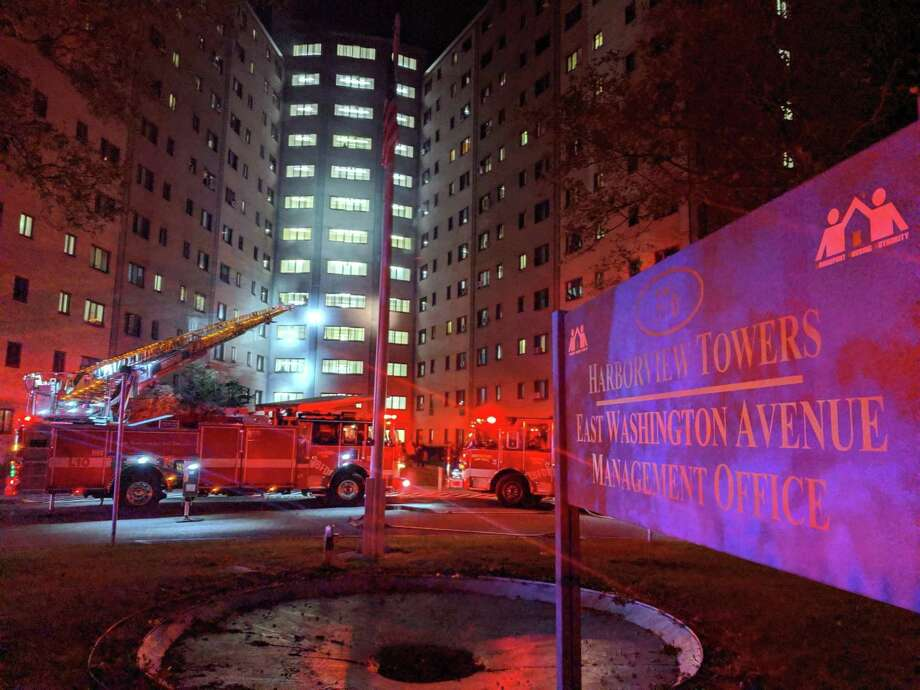 There was a fire in the trash chute at Harborview Towers apartments in Bridgeport, Conn., on Saturday, Oct. 26, 2019. Photo: Contributed Photo