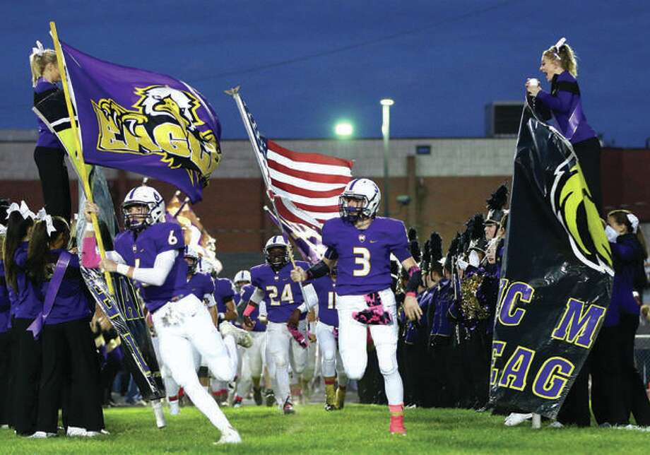 The Civic Memorial Eagles football team will take on Murphysboro in a first-round IHSA Class 4A playoff game at 2 p.m. next Saturday at Hauser Field. The 7-2 Eagles will take on Murphysboro, also 7-2. Murphysboro is coached by former East Alton-Wood River coach Gary Carter. Eight Telegraph area teams advanced to the postseason, including Roxana in Class 4A; Marquette Catholic and Carlinville in Class 3A; Greenfield, North Greene and Carrollton in Class 1A and Edwardsville in Class 8A. Photo: Telegraph File Photo