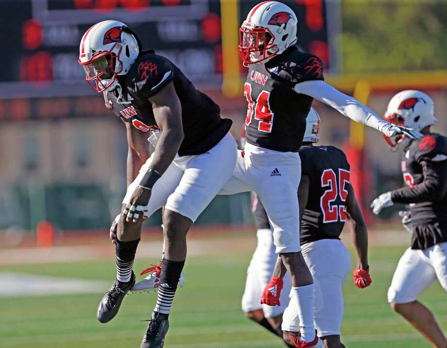 UIW safety Shawn Holton,R, celebrates after a fumble recovery against NW State on Saturday, October 26, 2019 at University of Incarnate Word. Photo: Ronald Cortes/Contributor / 2019 Ronald Cortes