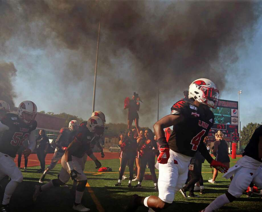 UIW football team enter the field for game against NW State on Saturday, October 26, 2019 at University of Incarnate Word. Photo: Ronald Cortes/Contributor / 2019 Ronald Cortes