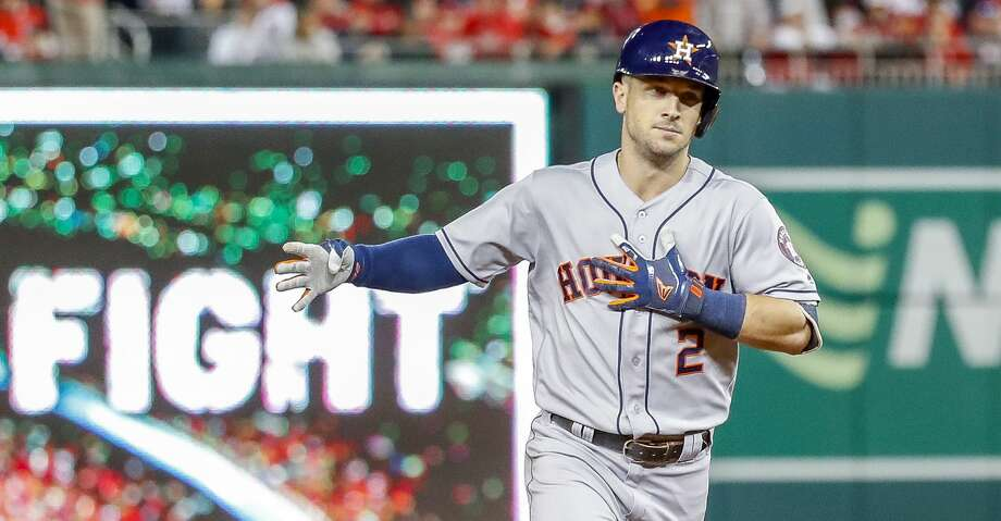 Houston Astros third baseman Alex Bregman (2) rounds the bases after hitting a grand slam during the seventh inning of Game 4 of the World Series at Nationals Park in Washington, D.C. on Saturday, Oct. 26, 2019. Photo: Karen Warren/Staff Photographer