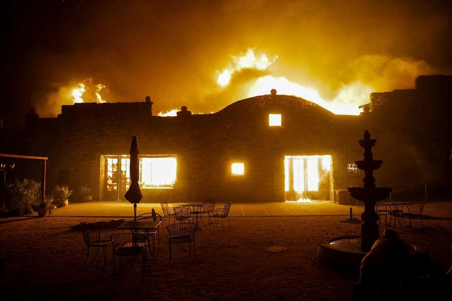 The Soda Rock Winery in the Healdsburg burns on Sunday. Photo: Carlos Avila Gonzalez / The Chronicle