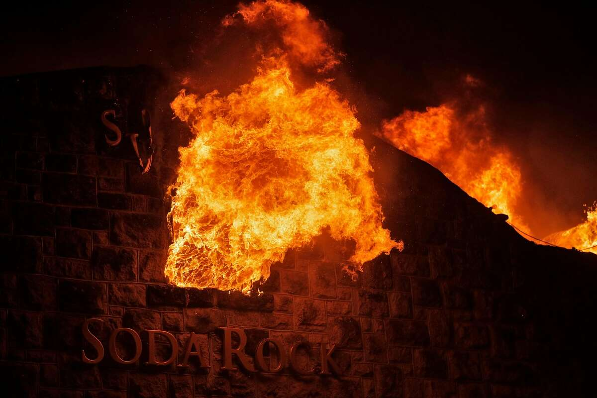The stone facade of Soda Rock Winery is seen as the structure burns as the Kincade Fire burns outside Healdsburg, Calif., on Sunday, October 27, 2019.