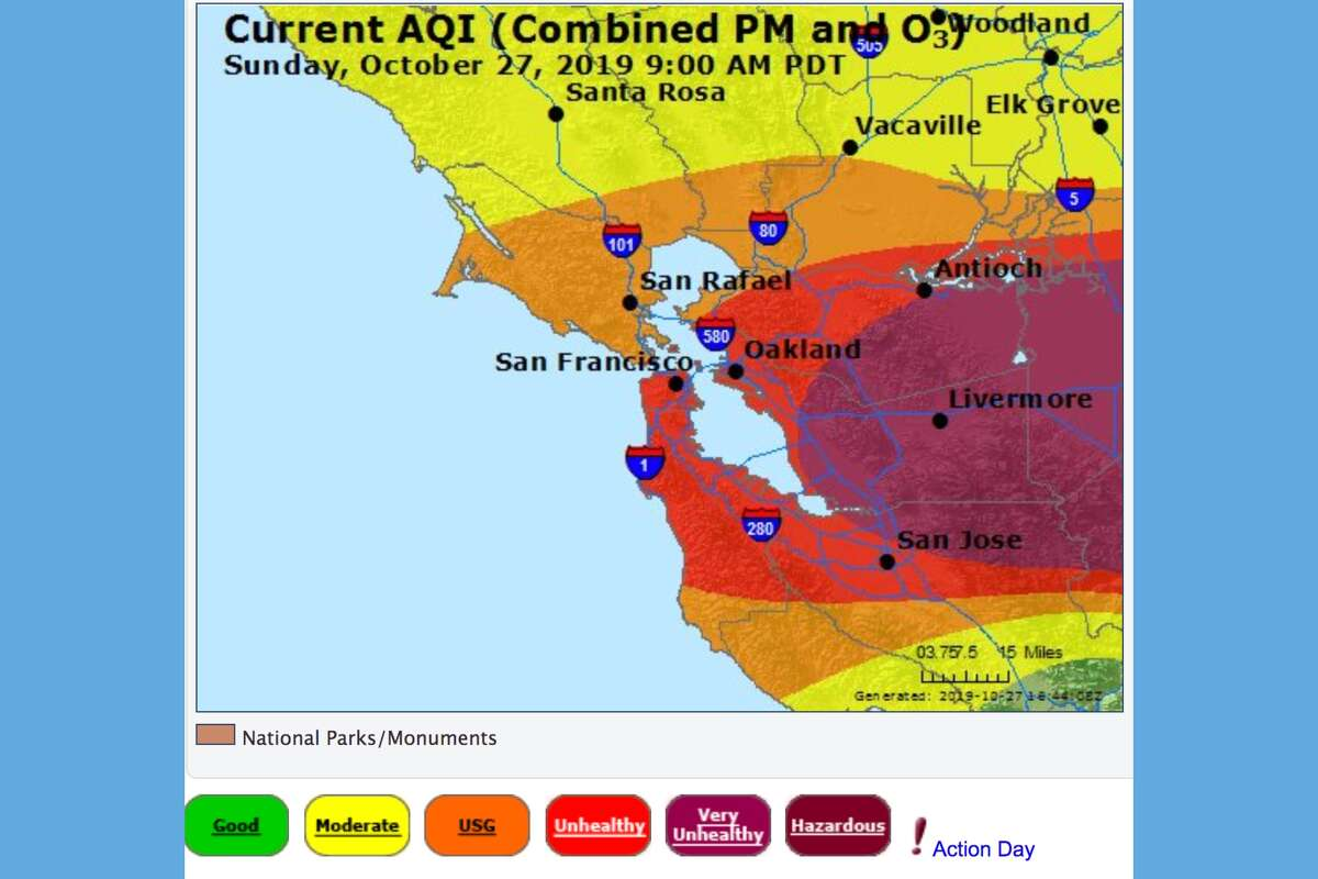 The Bay Area air quality report from Air Now as of 8 a.m. Sunday.
