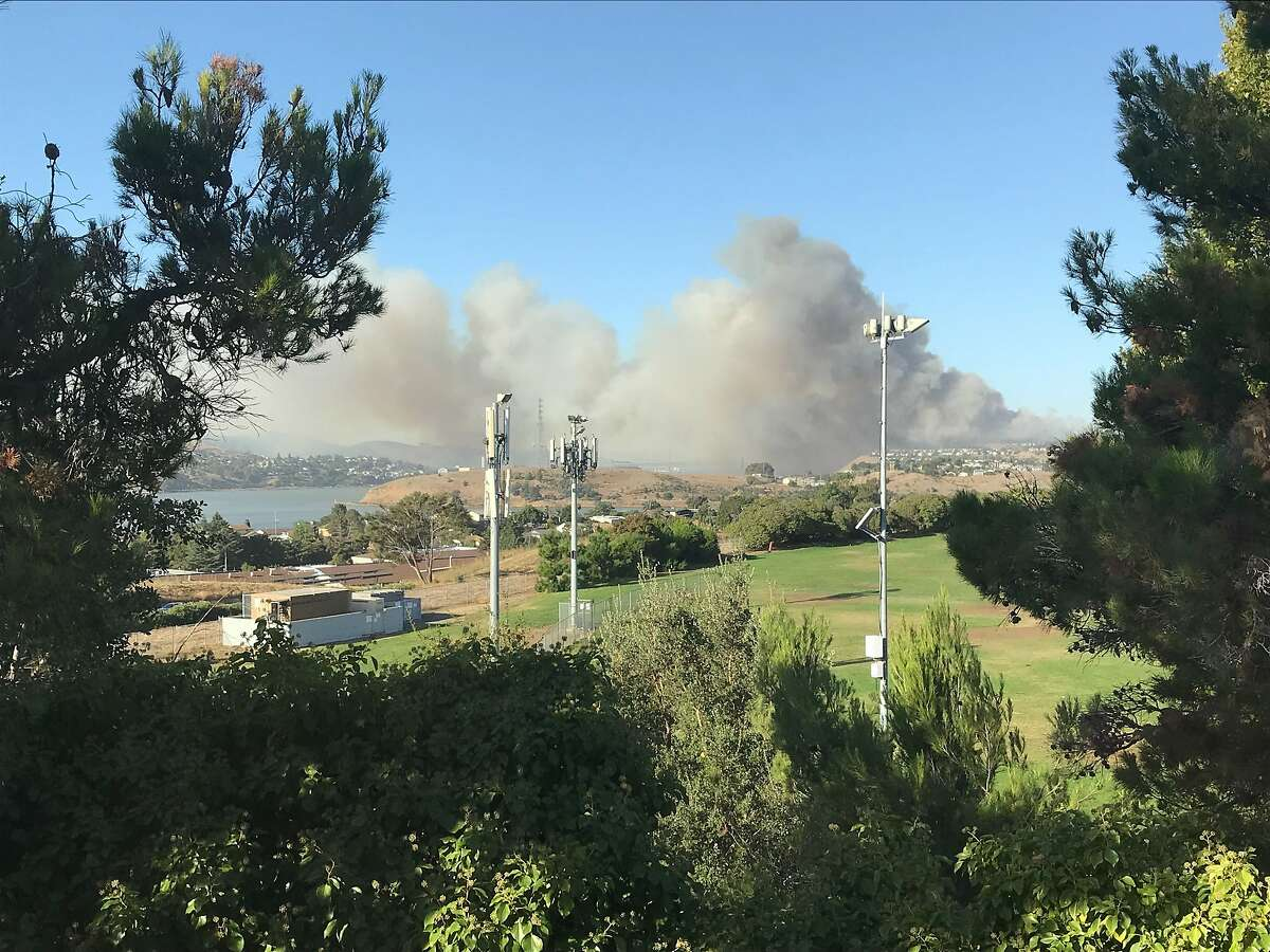 Smoke from Vallejo fire as seen from Benicia. The Carquinez Bridge is not visible due to the smoke.