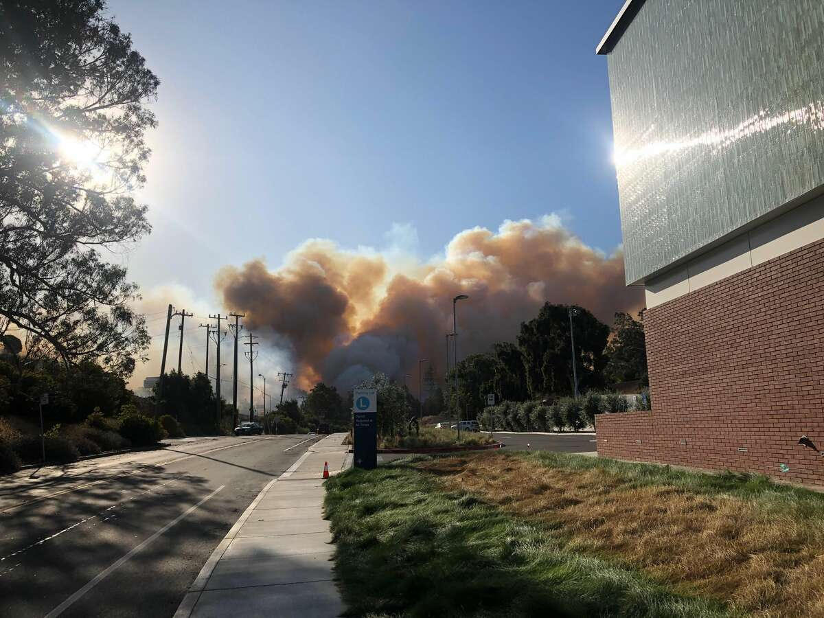 A brush fire burns near the Carquinez Bridge in Vallejo on Oct. 27, 2019. The fire closed Interstate 80 in both directions.