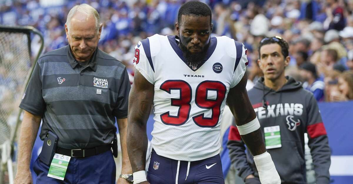 PHOTOS: Texans vs. Colts  Houston Texans free safety Tashaun Gipson (39) leaves the field in the first half at Lucas Oil Stadium on Sunday, Oct. 20, 2019 in Indianapolis. >>>See more photos from the Texans' win against the Colts last week ...
