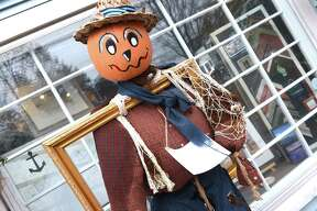A Scarecrows Invade Madison contest entry in downtown Madison weathers a rain storm on October 27, 2019. The winner of the contest will be announced on October 31 at the Trunk or Treat event on the Madison Green.