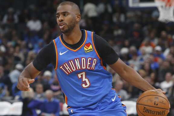 Oklahoma City Thunder guard Chris Paul (3) in the second half of an NBA basketball game against the Washington Wizards in Oklahoma City. (AP Photo/Sue Ogrocki)
