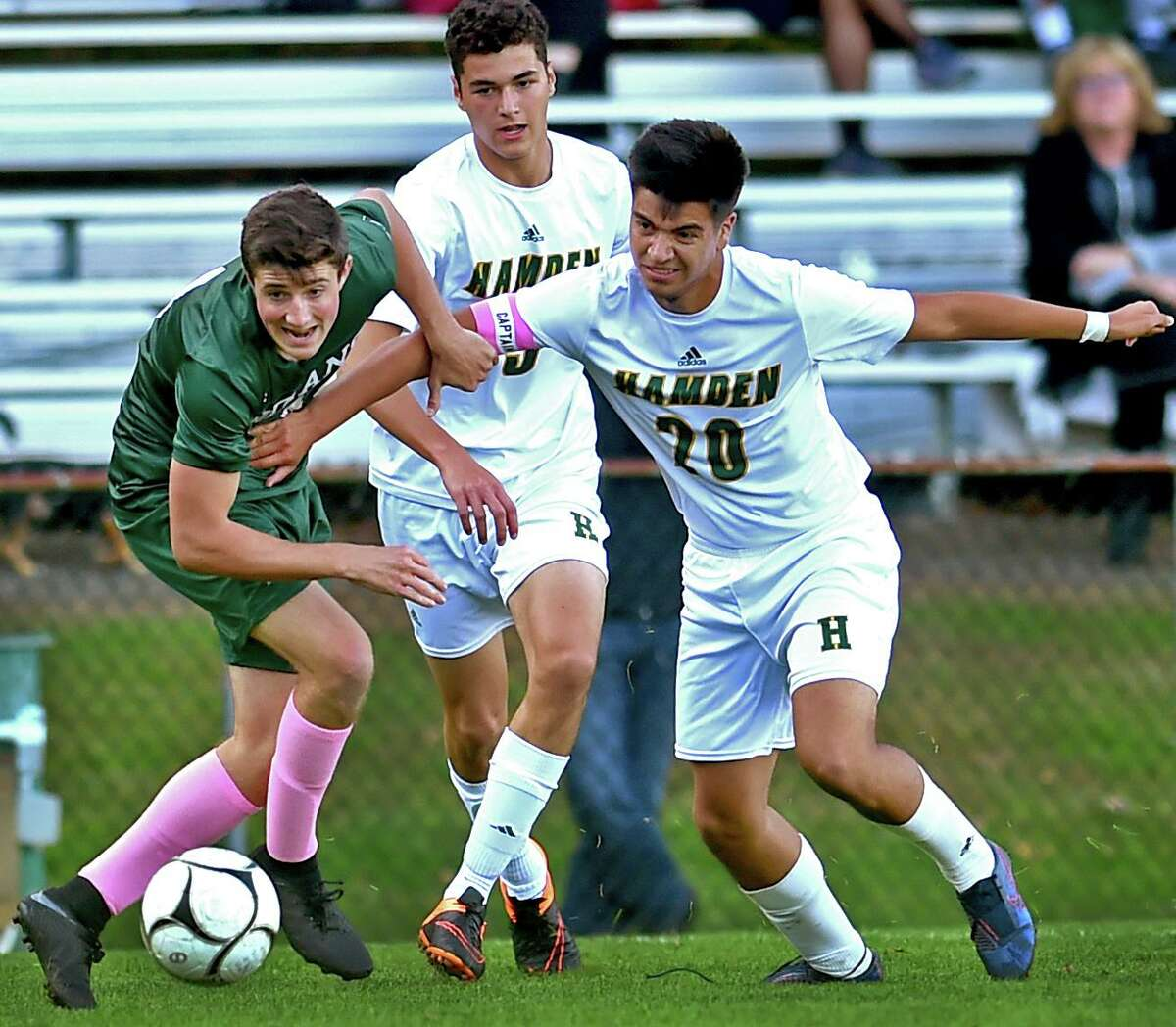 Devlin Ahlefeld of Guilford High School, left, seen earlier this season, scored the winner with under five minutes left to lift Guilford to a 1-0 win over Cheshire.