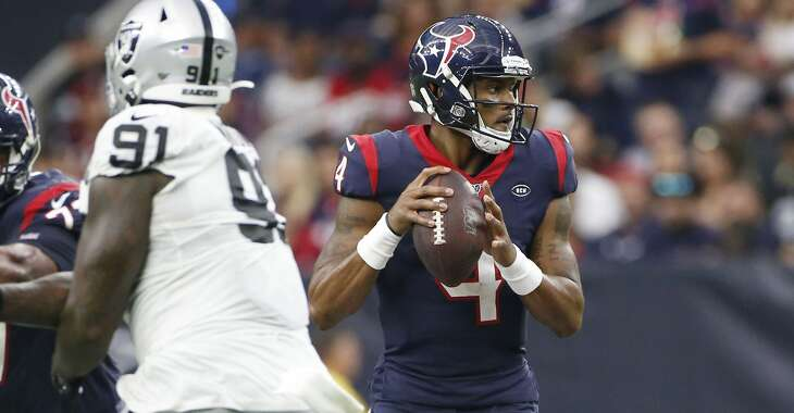 Houston Texans quarterback Deshaun Watson (4) looks for an open teammate agains the Oakland Raiders in the second half at NRG Stadium on Sunday, Oct. 27, 2019 in Houston. Houston Texans won the game 27-24.