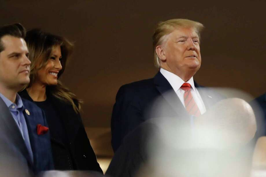 President Donald Trump arrives for Game 5 of the baseball World Series between the Houston Astros and the Washington Nationals Sunday, Oct. 27, 2019, in Washington. (AP Photo/Geoff Burke, Pool) Photo: Geoff Burke, Associated Press / Copyright 2019 The Associated Press. All rights reserved.