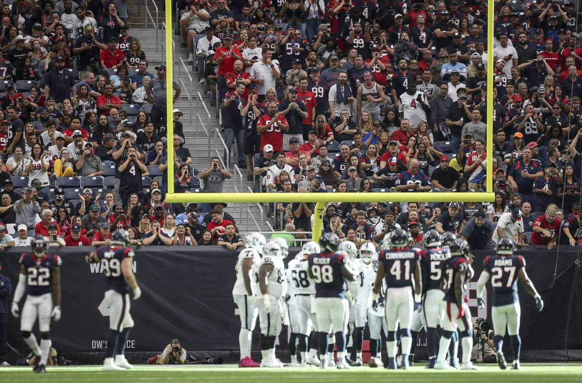 during the second quarter of an NFL football game at NRG Stadium on Sunday, Oct. 27, 2019, in Houston.