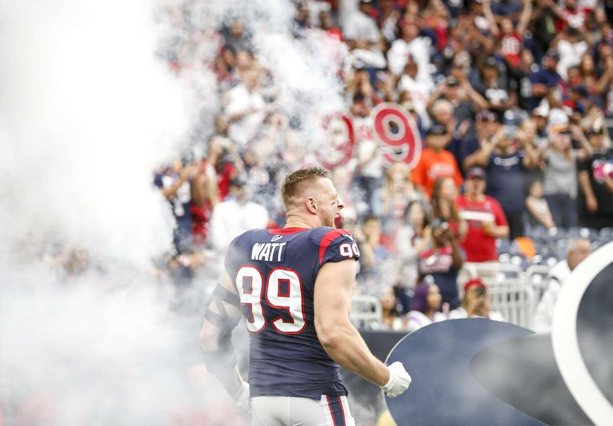 Houston Texans defensive end J.J. Watt (99) is introduced before an NFL football game at NRG Stadium on Sunday, Oct. 27, 2019, in Houston.