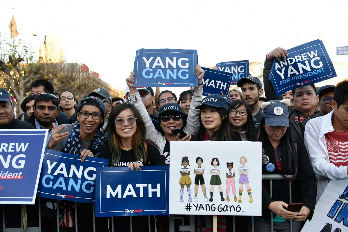 Presidential Candidate Andrew Yang at a rally in Civic Center Plaza on October 27, 2019 in San Francisco, Calif.