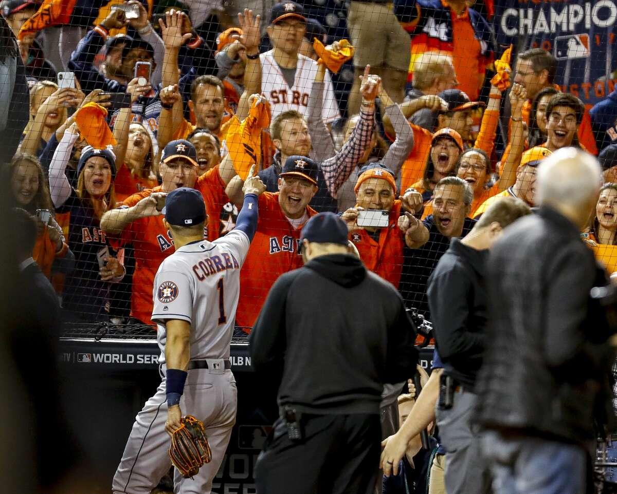 PHOTOS: Astros fans on the road at Game 5 on Sunday Astros fans cheer Houston Astros shortstop Carlos Correa (1) as the Astros win Game 5 of the World Series 7-1 at Nationals Park in Washington, D.C. on Sunday, Oct. 27, 2019. Browse through the photos above for a look at Astros fans taking over Nationals Park on Sunday ...