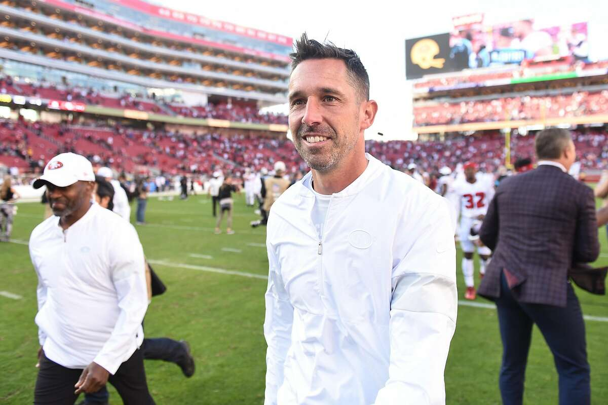 San Francisco 49ers head coach Kyle Shanahan walks off the field after the NFL game between the Carolina Panthers and San Francisco 49ers at Levi's Stadium on October 27, 2019 in Santa Clara, CA.