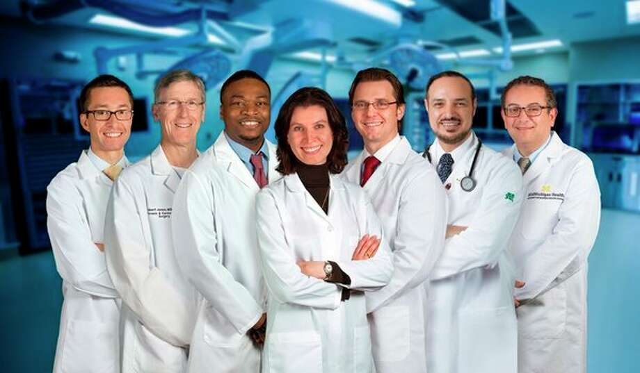 Clinic patients benefit from the expertise of a multidisciplinary team of experienced specialists. These include, from left, Cardiologist Jeffrey Martindale, D.O.; Cardiovascular Surgeon Robert Jones, M.D.; Cardiologist Femi Showole, D.O.; Cardiologist/Cardiac Imaging Specialist Susan Sallach, M.D.; Interventional Cardiologists Andrzej Boguszewski, M.D., and Maged Rizk, M.D., Ph.D.; and Cardiologist/Cardiac Imaging Specialist Waleed Doghmi, M.D. (Photo provided/Mid Michigan Health)