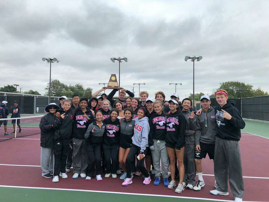 The Memorial tennis team repeated as Region III-6A champion with a 10-5 victory against Seven Lakes, Oct. 25 in Deer Park. The Mustangs advance to their 11th consecutive state tournament. Photo: Memorial High School / Memorial High School