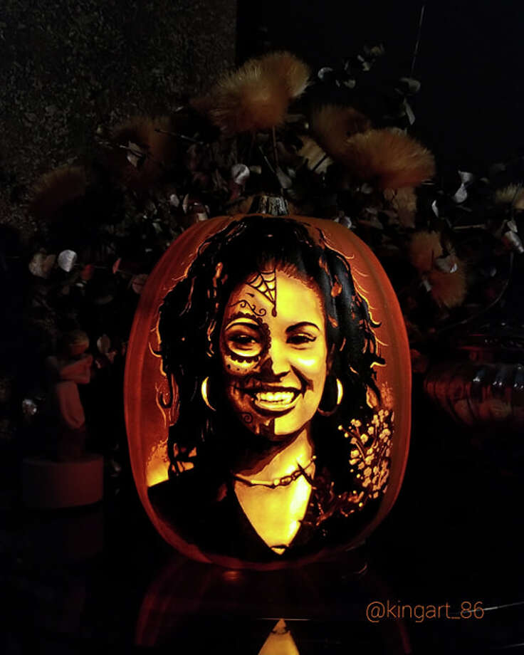 Arthur Alaquinez's artistic talents wow each year with his pumpkin portraits of retired Spurs. This year, Alaquinez created a Día de los Muertos-themed portrait of Selena on a pumpkin. He told mySA.comhe wanted to make something to recognize the Mexican holiday which observes late loved ones. He said he couldn't think of a better muse to incorporate than the Tejano legend who died in 1995. Photo: Courtesy, Arthur Alaquinez