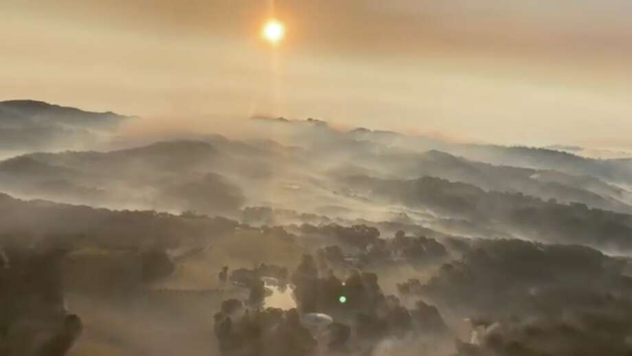The CHP Golden Gate Division Air Operations captured the billowing smoke seen over the evacuated areas in Sonoma County, on Monday, Oct. 28, 2019, as the Kincade Fire continues to rage. Photo: CHP Golden Gate Division Air Operations/ Facebook