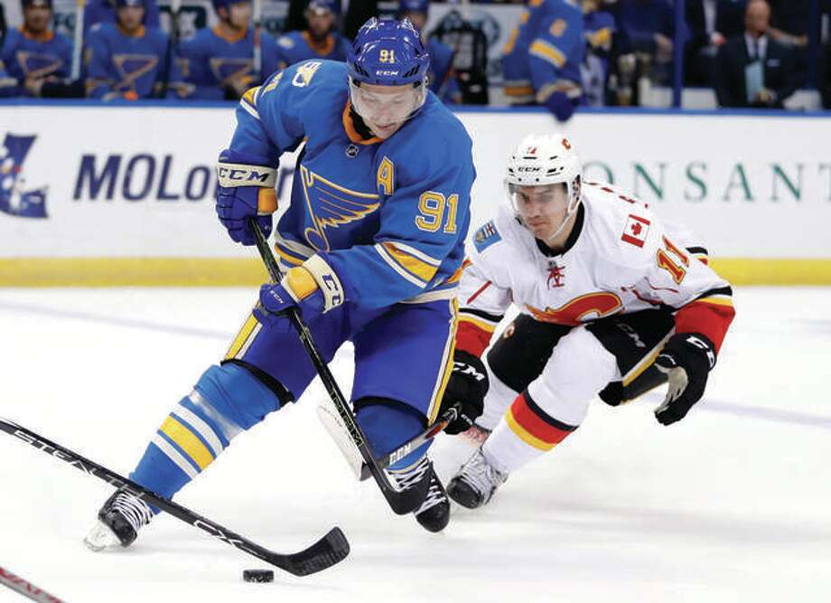 The Blues' Vladimir Tarasenko (91) will miss five months because of a shoulder injury suffered last week. Photo: AP File