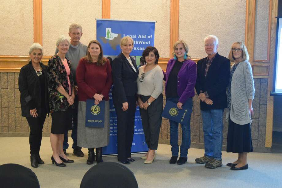 Legal Aid of NorthWest Texas recognized pro bono legal work on Friday during its annual ceremony at the Justice Center. Pictured: Frances Barrera, Cynthia Davidson, Michael Carroll, Michele Forbus, Cheryl Zalenski, Meredith Hatch, Don Williams and Marci Brown Photo: For The Herald