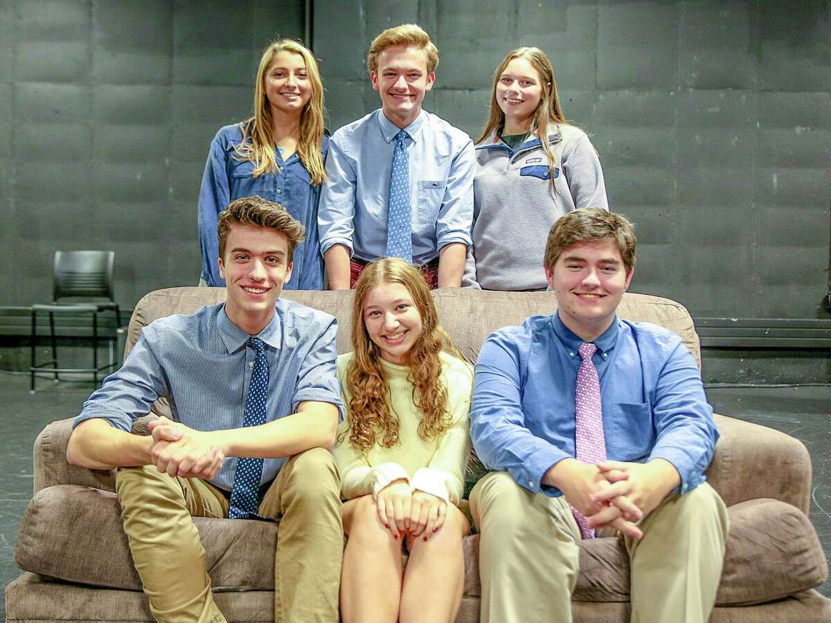 Admissions cast, front: Adrian Antonioli, class of '21 (New Canaan); Leila Pearson, class of '21 (New Canaan); Cameron Tyler, class of '21 (Greenwich); back: Allie Vogel, class of '20 (New Canaan); Henry Jodka, class of '20 (New Canaan) and Emily Stute, class of '20 (Darien).