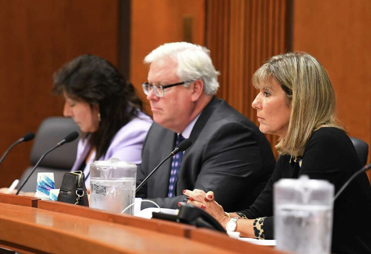 State senators; Susan Serino, left, Thomas O'Mara, center, and Daphne Jordan, right, listen to testimony during a state Senate hearing on the new pre-trail discovery reform rules on Monday, Oct. 25, 2019, at the Legislative Office Building in Albany, N.Y. The new rules take effect on Jan. 1. (Will Waldron/Times Union)