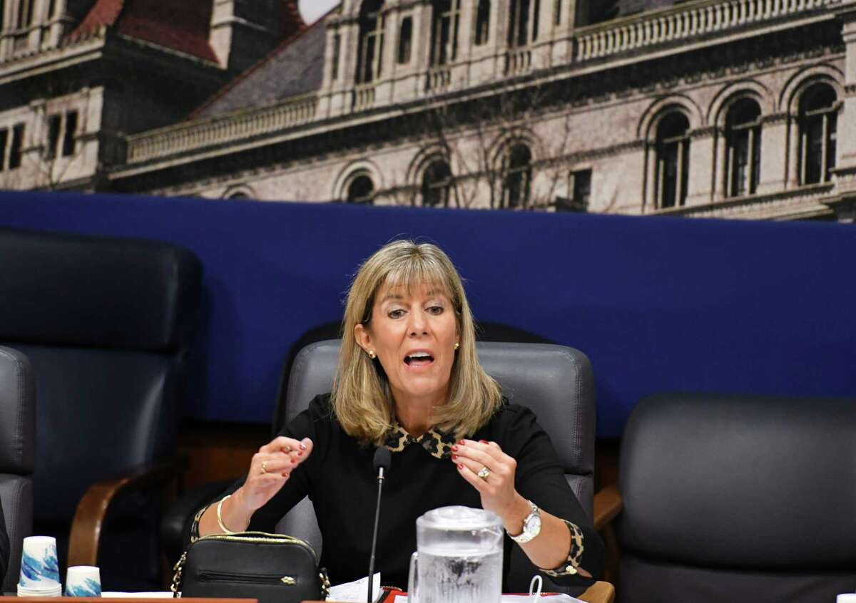 Sen. Daphne Jordan questions speakers during a state Senate hearing on the new pre-trail discovery reform rules on Monday, Oct. 25, 2019, at the Legislative Office Building in Albany, N.Y. The new rules take effect on Jan. 1. (Will Waldron/Times Union)
