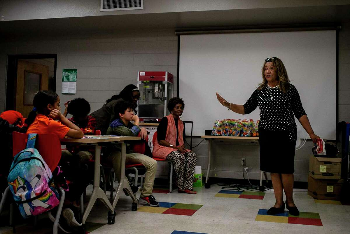 Rosaland Guidry Anderson addresses students during an after school program at East Side Boys and Girls Club in San Antonio, Texas, Oct. 21, 2019. Every other week, the San Antonio chapter of The Links, Inc. works with middle school students to promote literacy and educate them on the election process. The Links, Inc., is an international, not-for-profit corporation, established in 1946 for professional women of color. The membership consists of more than 16,000 women in 288 chapters.