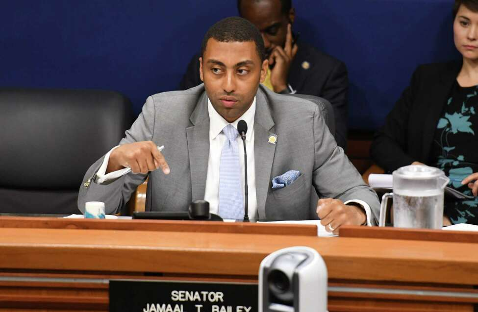 Sen. Jamaal Bailey, codes committee chairman, questions speakers during a state Senate hearing on the new pre-trail discovery reform rules on Monday, Oct. 25, 2019, at the Legislative Office Building in Albany, N.Y. The new rules take effect on Jan. 1. (Will Waldron/Times Union)