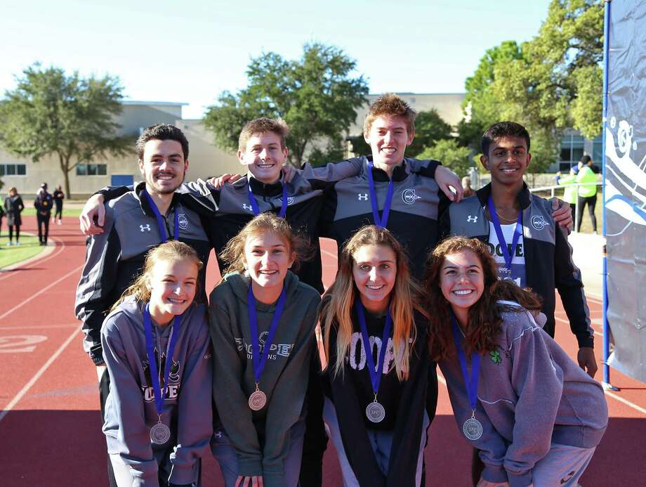 All-South Zone honorees for The John Cooper School: Front: Chloe Smith, Megan Day, Katie Drake, Madison Breaux. Back: Will McDermott, Zac Winton, Cadan Hanson, Vishnu Swaminathan Photo: Submitted Photo
