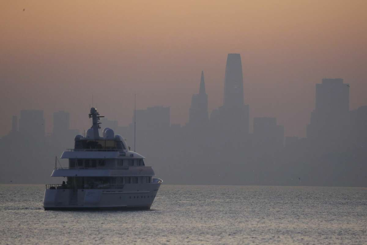 Smoke from wildfires blankets the San Francisco skyline Monday, Oct. 28, 2019, this view from Sausalito, Calif. A wildfire that has been burning in Northern California's wine country since last week grew overnight as nearly 200,000 people remain under evacuation orders. The California Department of Forestry and Fire Protection said Monday that the fire in Sonoma County north of San Francisco now spans 103 square miles (267 square kilometers). That's up from 85 square miles (220 square kilometers) on Sunday.