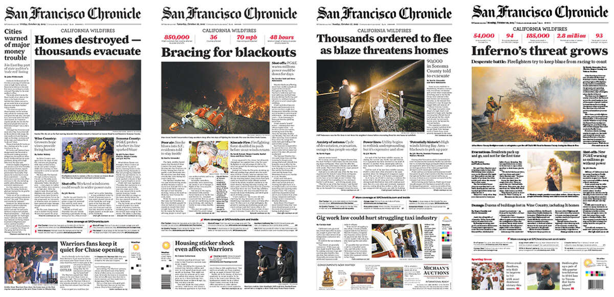 Chronicle front pages.