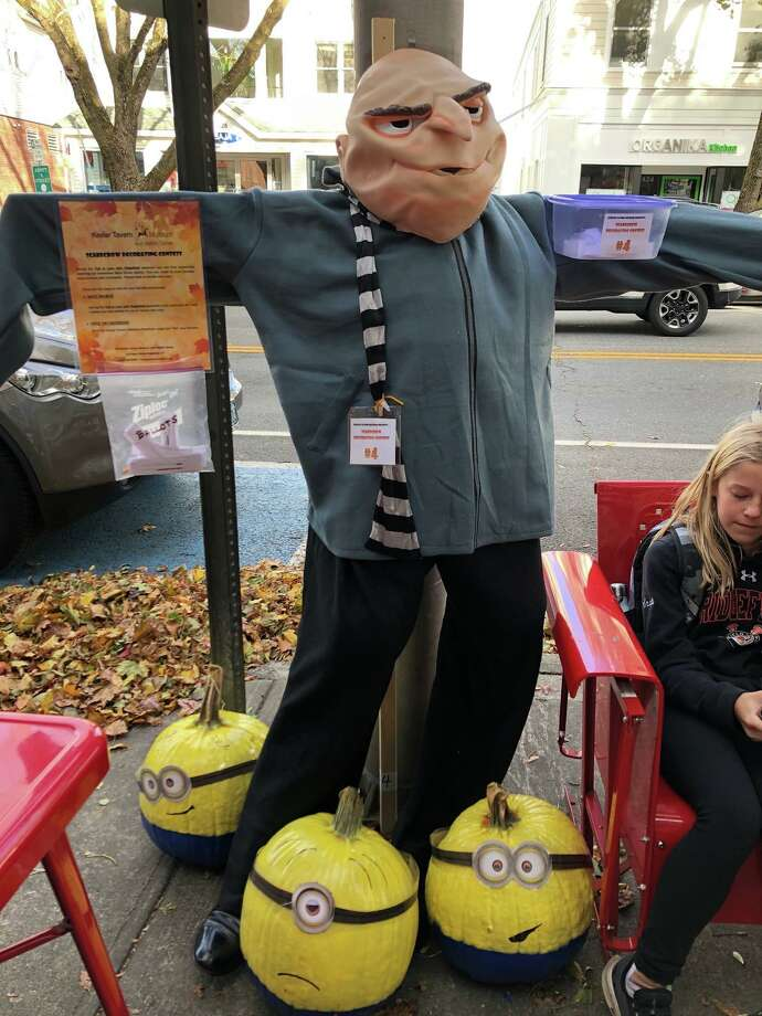 Gru and His Minions, by The Coury and Conroy families won the Main Street ballot vote in Keeler Tavern Museum & History Center's (KTM&C) 7th annual Scarecrow Contest, held during Fall in Love with Ridgefield weekend, Oct. 18-20, 2019. Photo: Keeler Tavern Museum & History Center