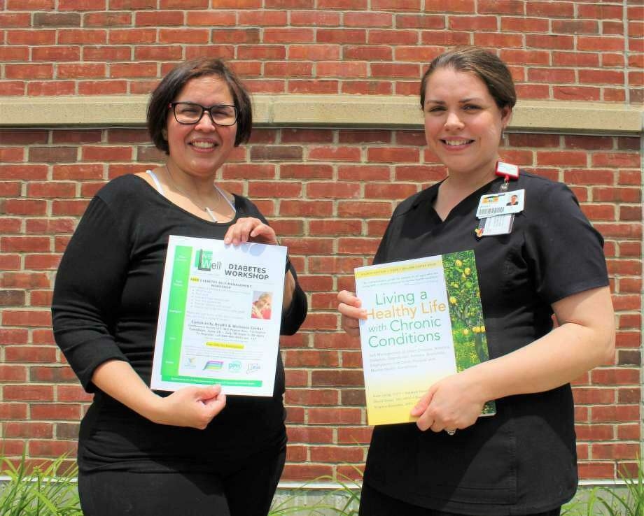 Dayan Aguilera, RN, and Kristie D'Averso, RN, are instructors for the six-week diabetes workshop at Community Health & Wellness Center in Torrington. Photo: Contributed Photo
