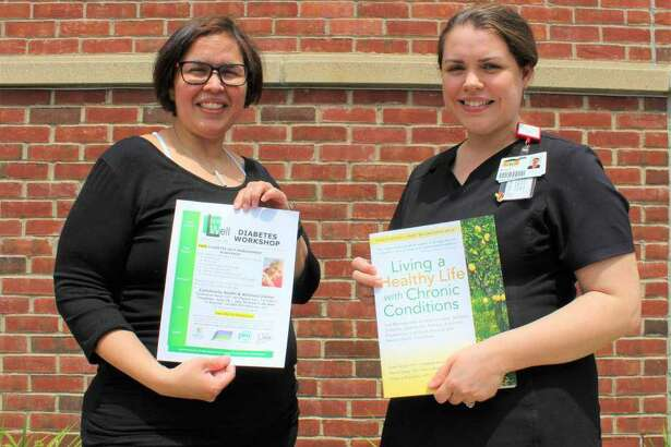 Dayan Aguilera, RN, and Kristie D'Averso, RN, are instructors for the six-week diabetes workshop at Community Health & Wellness Center in Torrington.