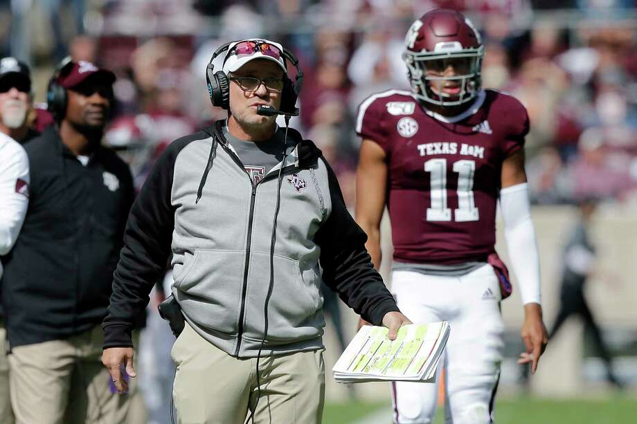 Texas A&M head coach Jimbo Fisher watches his defense lineup against Mississippi State during the first half of an NCAA college football game, Saturday, Oct. 26, 2019, in College Station, Texas. (AP Photo/Sam Craft) Photo: Sam Craft, Associated Press / Copyright 2019 The Associated Press. All rights reserved.