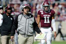 Texas A&M head coach Jimbo Fisher watches his defense lineup against Mississippi State during the first half of an NCAA college football game, Saturday, Oct. 26, 2019, in College Station, Texas. (AP Photo/Sam Craft)