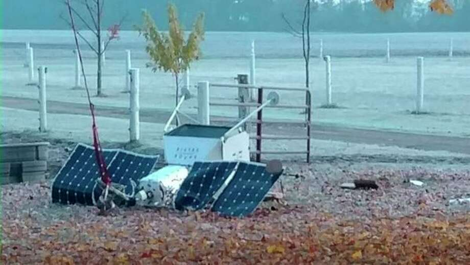 A Merrill woman heard a crash just before 9 a.m. Saturday morning and looked out her window to see some sort of contraption on her East Van Buren Road property near the Gratiot/Saginaw County line. (Photo courtesy of ABC News via Nancy Mumby-Welke / Facebook)